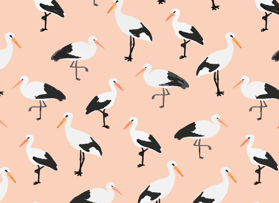 Peach storks