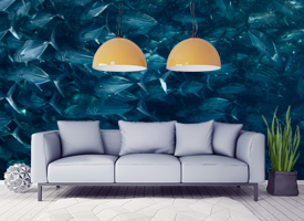 Living room wall murals