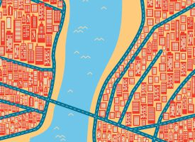 New York colourful map